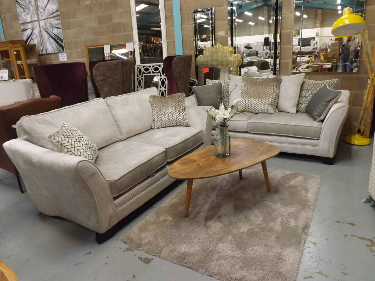 alexis silver and champagne fabric 4 and 3 seater sofas rrp £2314