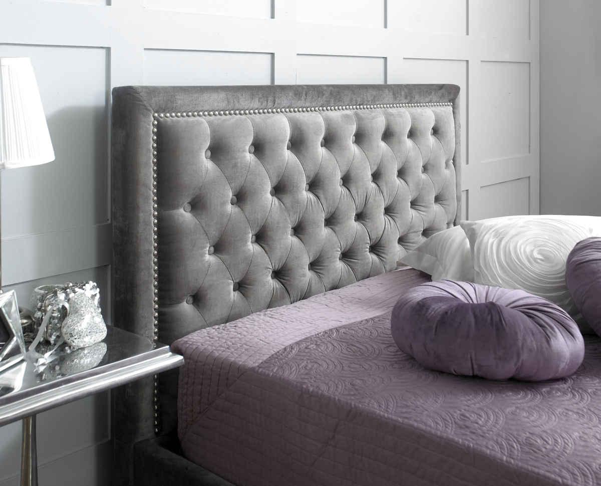 Rhea Plush Silver Velvet Storage Ottoman Bed House Goods 4u