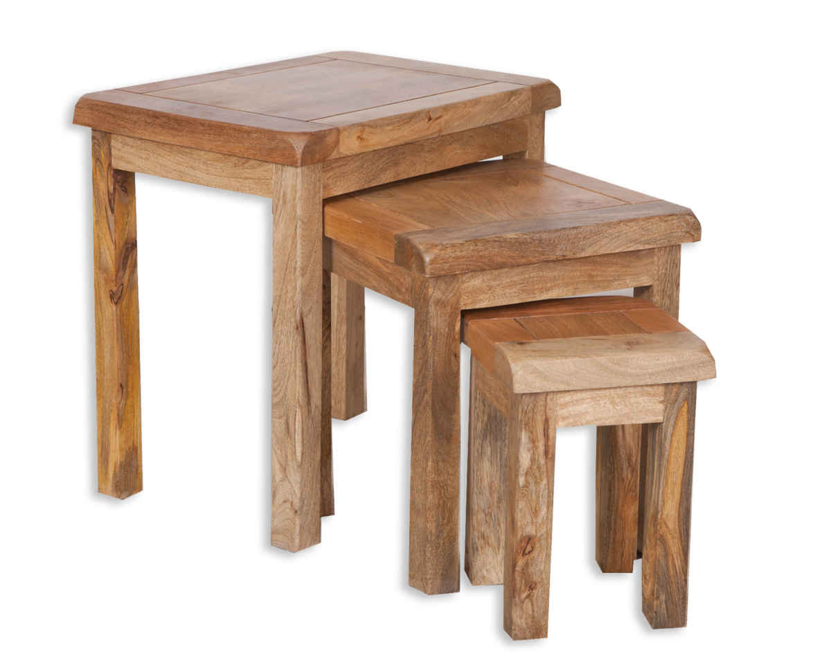 Country Solid Mango Wood Nest Of Tables House Goods 4u