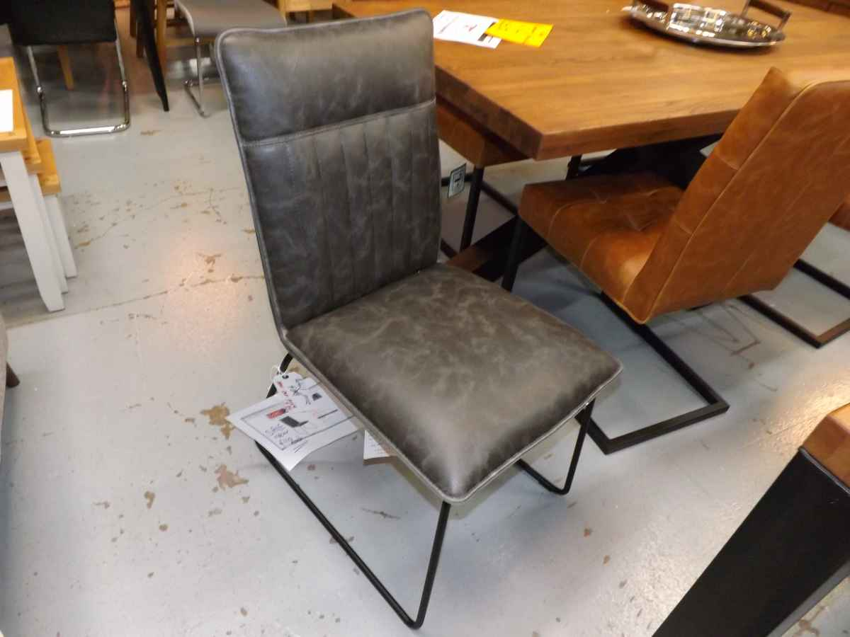 Designer Cooper Industrial Style Charcoal Leather And Metal Dining Chairs