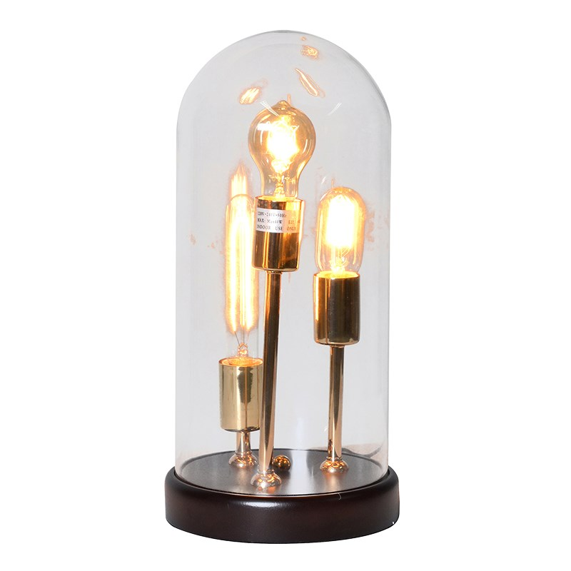 Industrial 3 Bulb Glass Dome Table Lamp House Goods 4u
