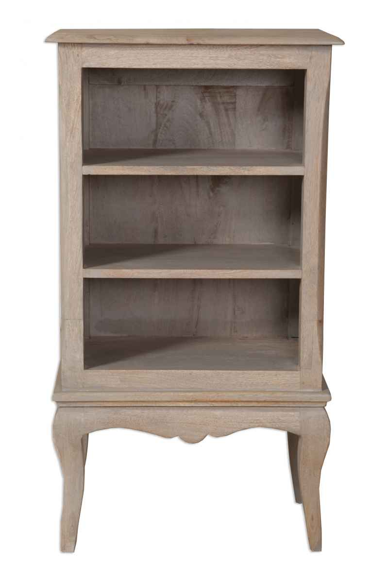 Brittany French Grey Wash Small Bookcase Dvd Rack