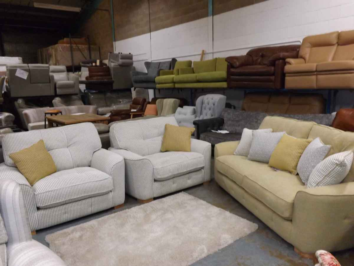 Monty Gus Grey And Yellow 3 Seater Sofa And 2x Snuggle Chairs Rrp £3237 U2013  House Goods 4U