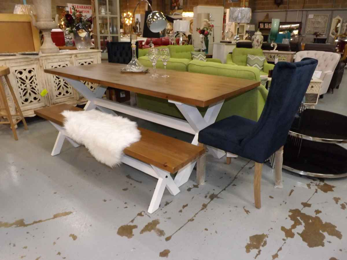 Plaistow Distressed White And Wooden Farmhouse Table With
