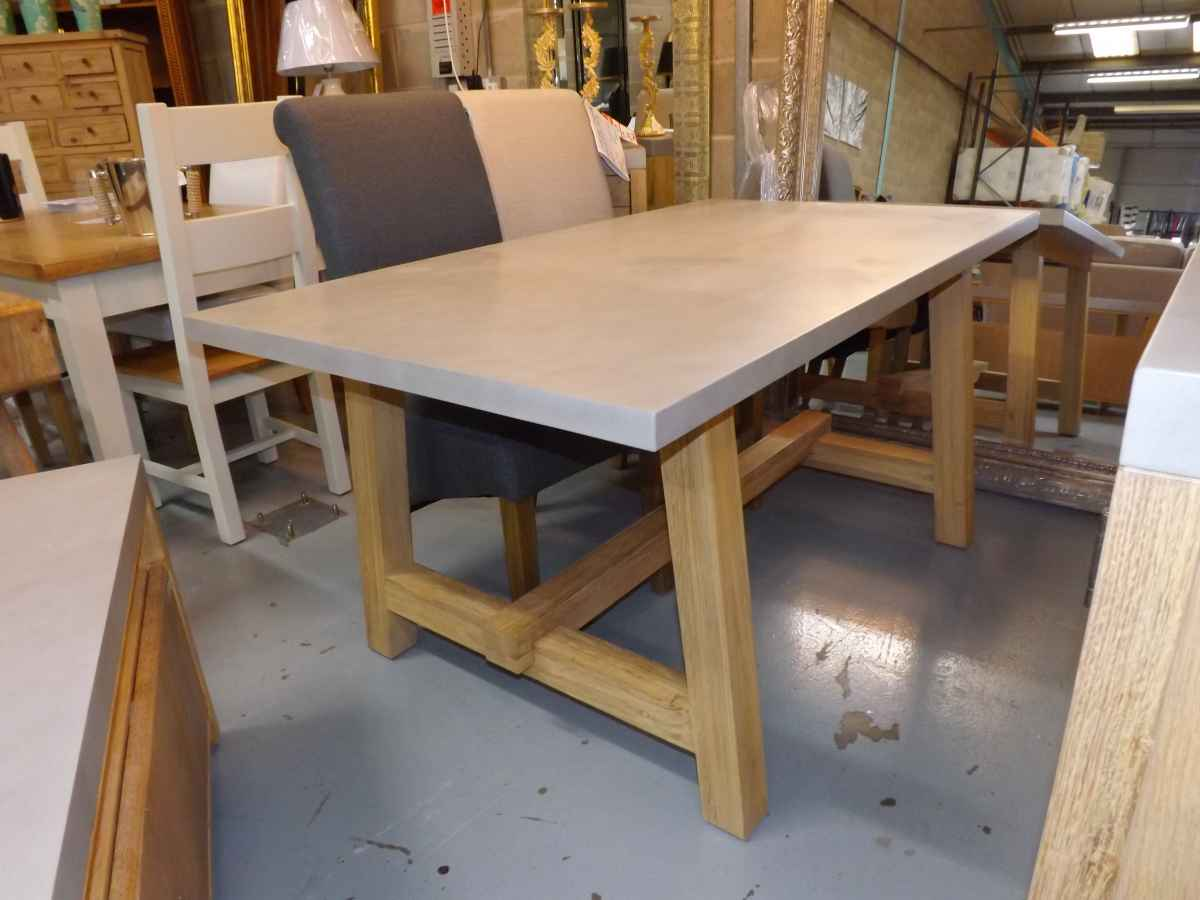 Concrete And Oak Dining Table With 4x Scroll Chairs In Choice Of Colours House Goods 4u