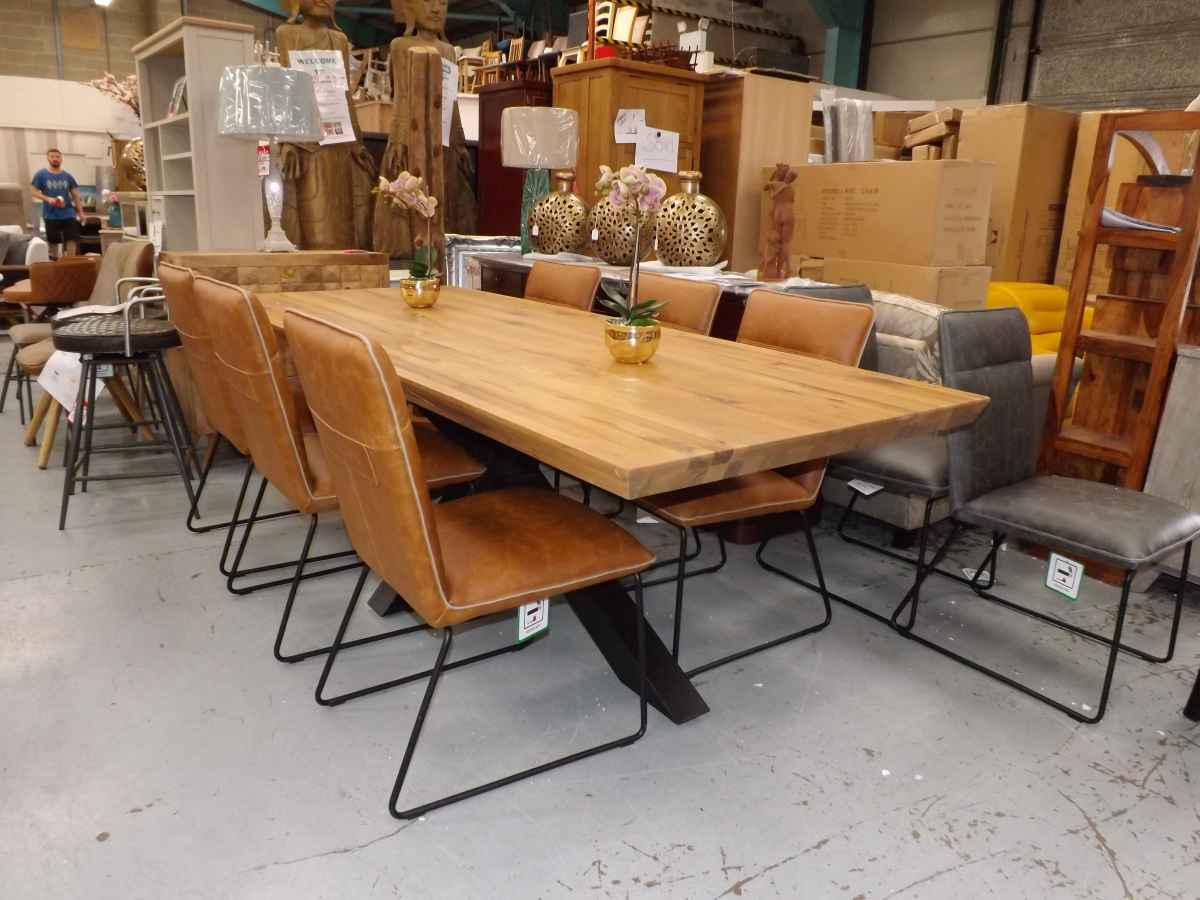 New From Box Industrial Solid Wood And Metal Dining Table 6x Tan Dining Chairs
