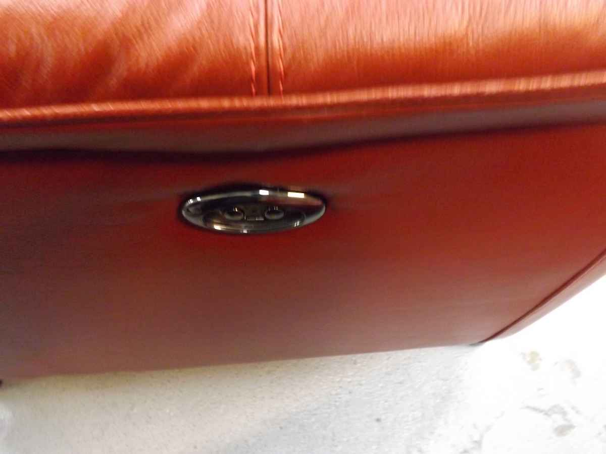 Todi Warm Red Leather 2 Seater Sofa 2x Armchairs Power