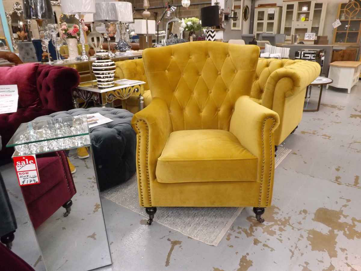 Darby Mustard Yellow Velvet Wing Back Buttoned Chesterfield Armchair House Goods 4u