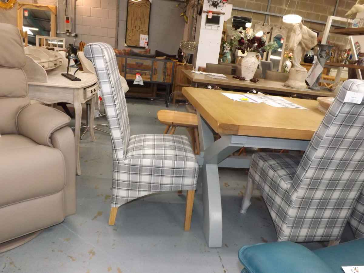 Set Of 6x Cappucino Grey Herringbone Check Tartan Scroll Dining Chairs House Goods 4u