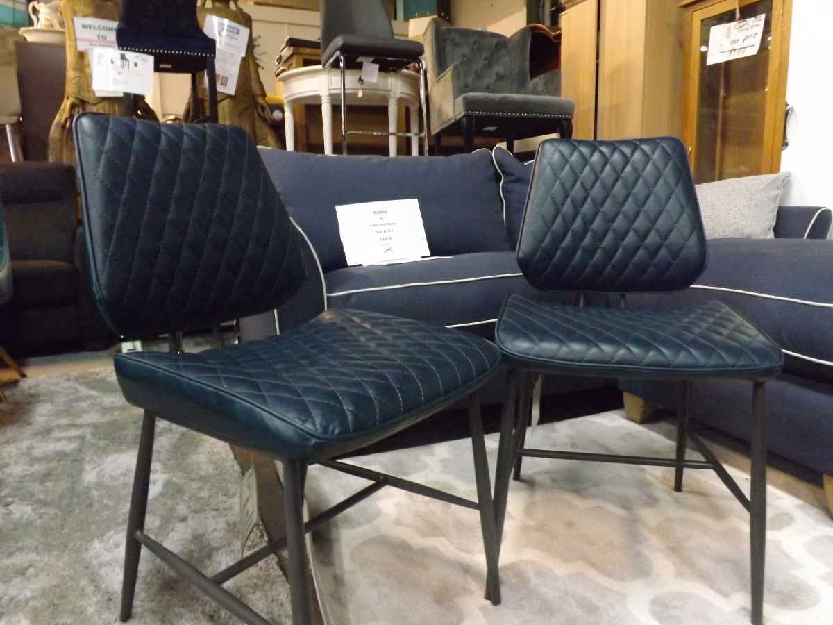 Dolton Blue Pu Leather Dining Chairs X4 499 More Available House Goods 4u